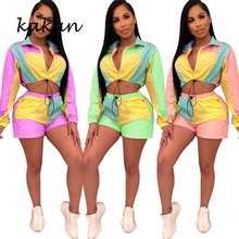 Kakan new womens jumpsuit two-piece multi-color color matching long-sleeved shorts suit