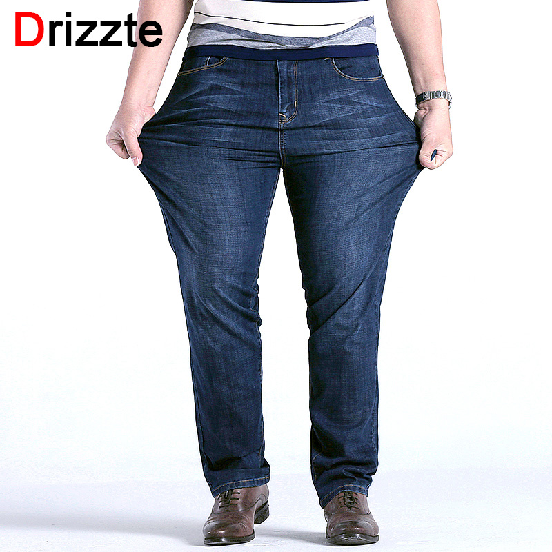 Drizzte Mens High Stretch Plus Size 42 44 46 48 Jeans Blue Denim Business Big Jean Relax Work Trousers Pants free customs taxes high quality skyy 48 volt li ion battery pack with charger and bms for 48v 15ah lithium battery pack