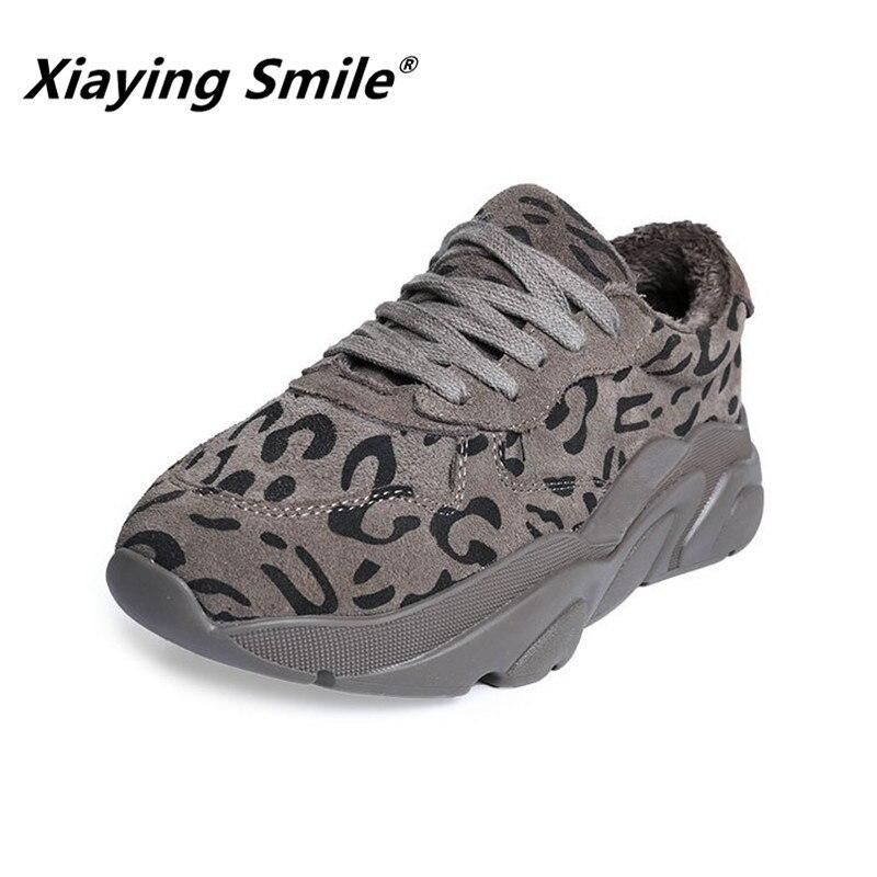 Xiaying 笑顔女性雪フラッツ新到着の女性のファッションカジュアル暖かいショート豪華な靴の冬レースアップヒョウプリントの靴  グループ上の 靴 からの レディースフラット の中 1