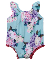 Newborn Infant Baby Girls Sleeveless Floral  Flower Pom Romper Jumpsuit Sunsuit Clothes 0-18M