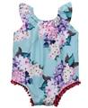 Newborn Infant Baby Girls Sleeveless Floral  Flower Pom Romper Jumpsuit Sunsuit Clothes 0-18M