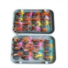 KKWEZVA 32pcs Boxed fly fishing lure set Artificial bait trout fly fishing lures hooks tackle with box Butterfly Insect