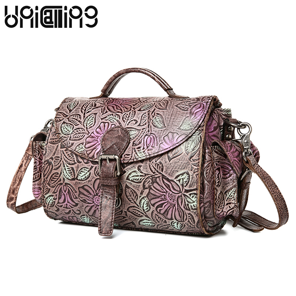 Fashion Genuine Leather Shoulder Bags Retro tidal current Embossed cow leather women bag Large capacity women messenger bags fashion matte retro women bags cow split leather bags women shoulder bag chain messenger bags