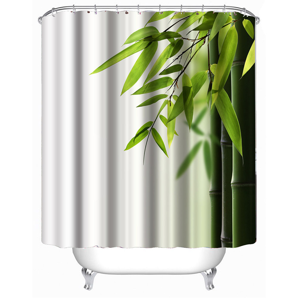 Natural shower curtain - Natural Bamboo Modern Shower Curtain For The Bathroom Home Decor Waterproof Polyester Fabric Bathroom Curtains With
