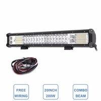 20 Tri Row LED Light Bar Combo 288W LED Work Lamp 12V 24V Truck Trailer Camper