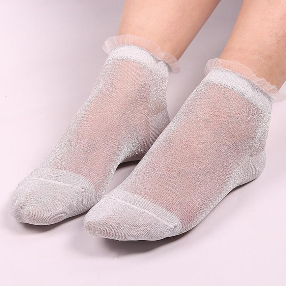 Glitter Ankles Socks Vintage Women Girl Spring Summer Shiny Thin Casual Sock New