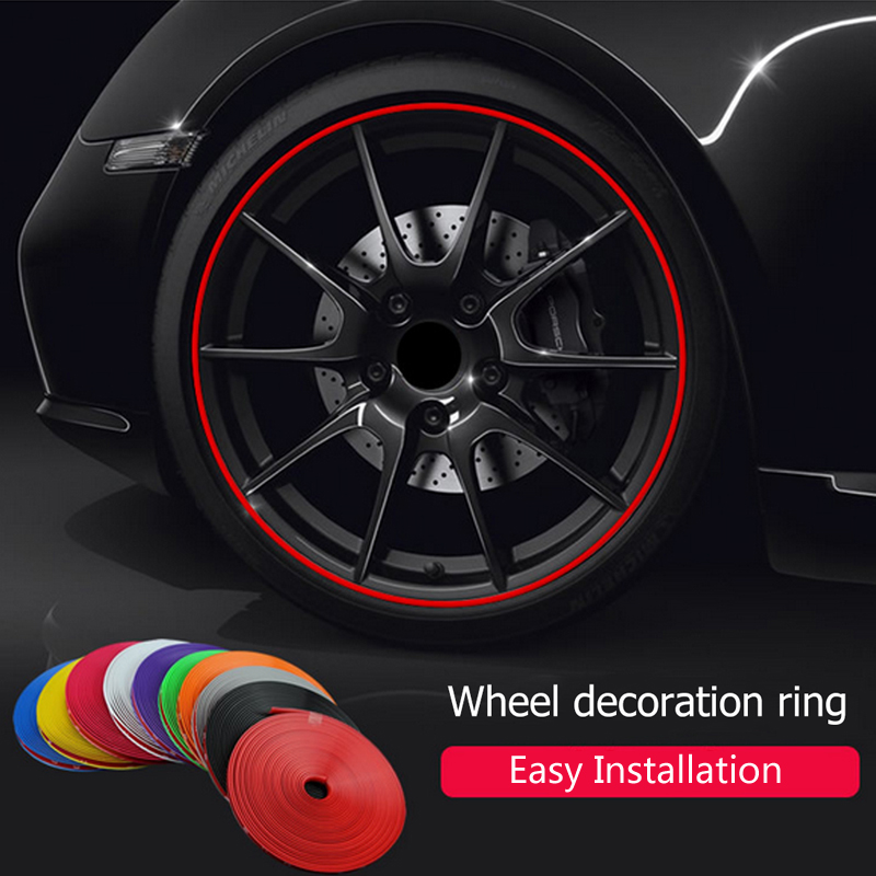 Car <font><b>Wheel</b></font> Protector Hub Sticker Decorative Styling Strip Rims For <font><b>Peugeot</b></font> 307 206 308 407 207 3008 <font><b>406</b></font> 208 508 301 2008 408 5008 image
