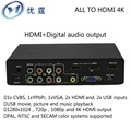 CVBS/YPbPr/VGA/HDMI and USB media to hdmi output Digital audio output  CONVERTER 4k 1080P Audio and video times line switches