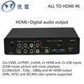 Cvbs/ypbpr/vga/hdmi e saída de mídia usb para hdmi conversor de saída de áudio digital 4 k 1080 p vezes linha de interruptores de áudio e vídeo