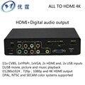Cvbs/ypbpr/vga/hdmi y soporte usb para salida hdmi salida de audio digital convertidor de 4 k 1080 p veces línea de switches de audio y vídeo