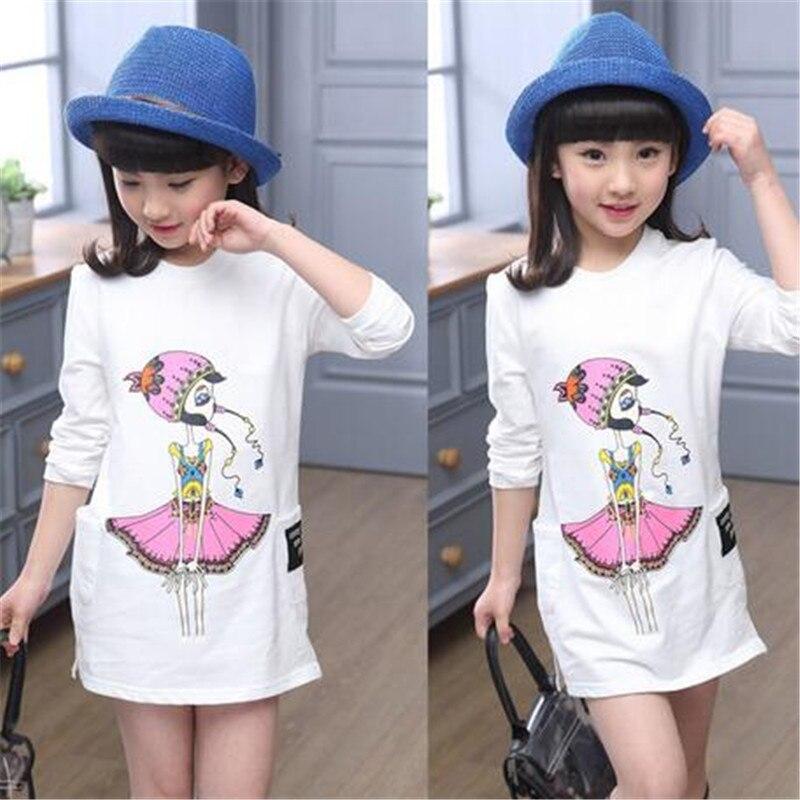 806e3b3e0 Nueva primavera 2018 niños bebé Niñas ropa niños ropa princesa Blusa de  algodón de manga larga impresión niño EDAD 6 -15 t
