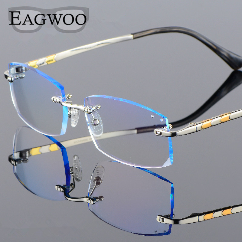 Titanium Eyeglasses Men Rimless Prescription Reading Myopia Photochromic Progressive Glasses Big Wide Spectacle with Color lens
