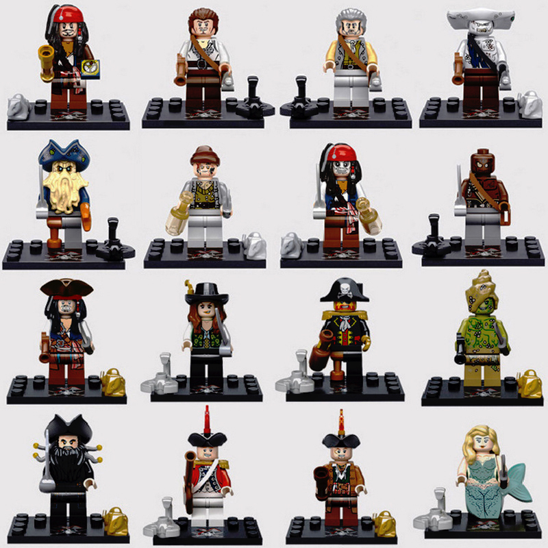 Random 4Pcs Pirates of The Caribbean Jack Sparrow Classic Movie Figure Building Blocks Compatible With Legoing Toy For Childrens