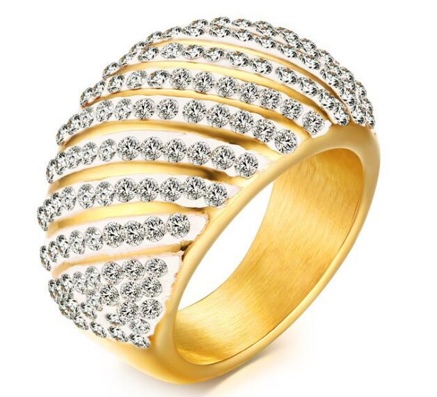 rc 326 clearance sale gold stainless steel with shiny drill cz crystals ring band hihg - Clearance Wedding Rings