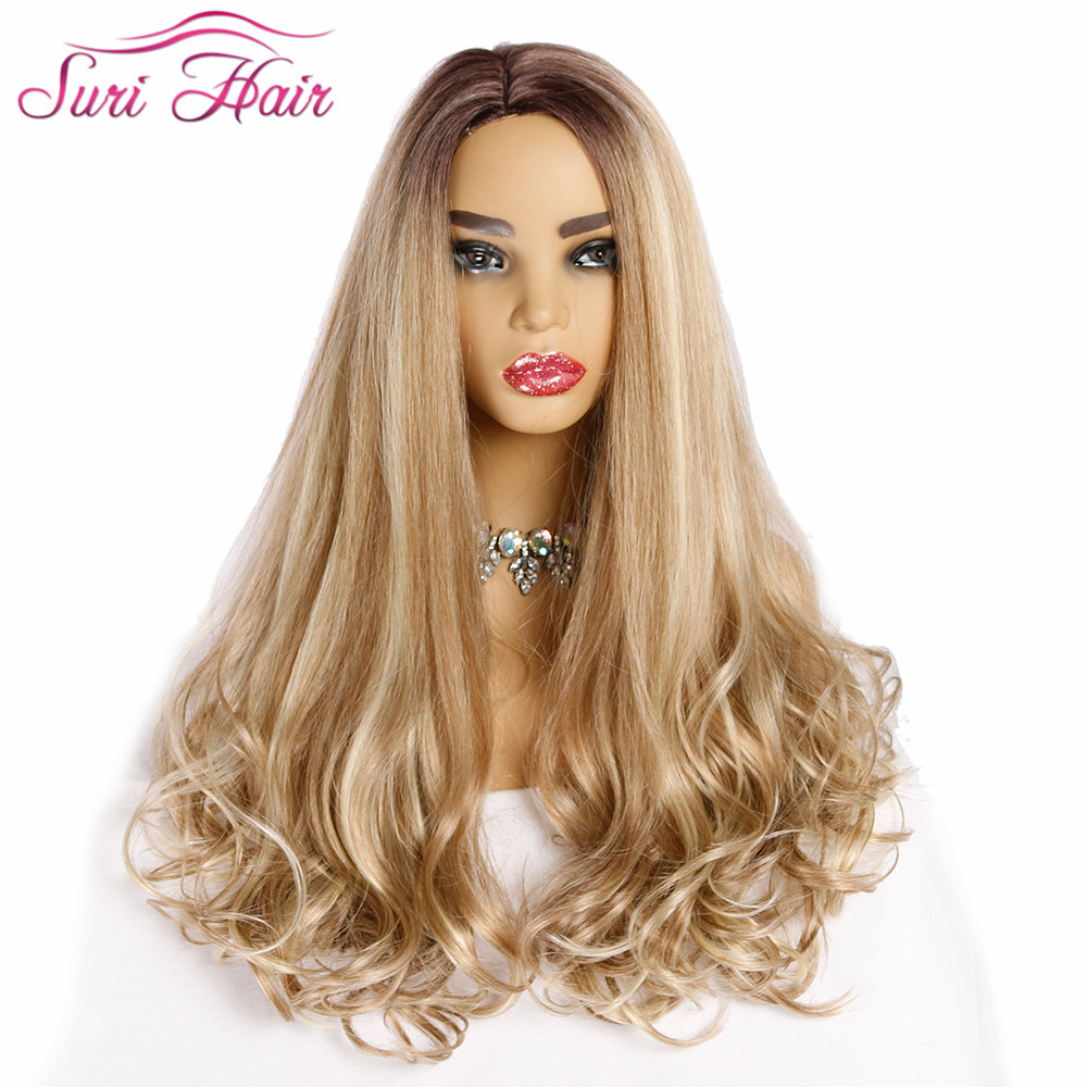 Suri Hair Long Synthetic Wigs Women For White Curly Hair Wigs 28 Inch Mixed Blonde And 613# Wigs Fake Hair With Side Hair Part