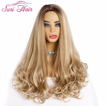 Suri Hair long synthetic wigs women for white curly hair 28 inch mixed blonde and 613# Fake With side Part
