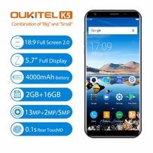 """Oukitel K5 18:9 5.7 """"Android 7.0 2 GB RAM 16 GB ROM MTK6737T Quad Core 8MP 3 Caméras 4000 mAh D'empreintes Digitales Mobile Téléphone pré-vente"""