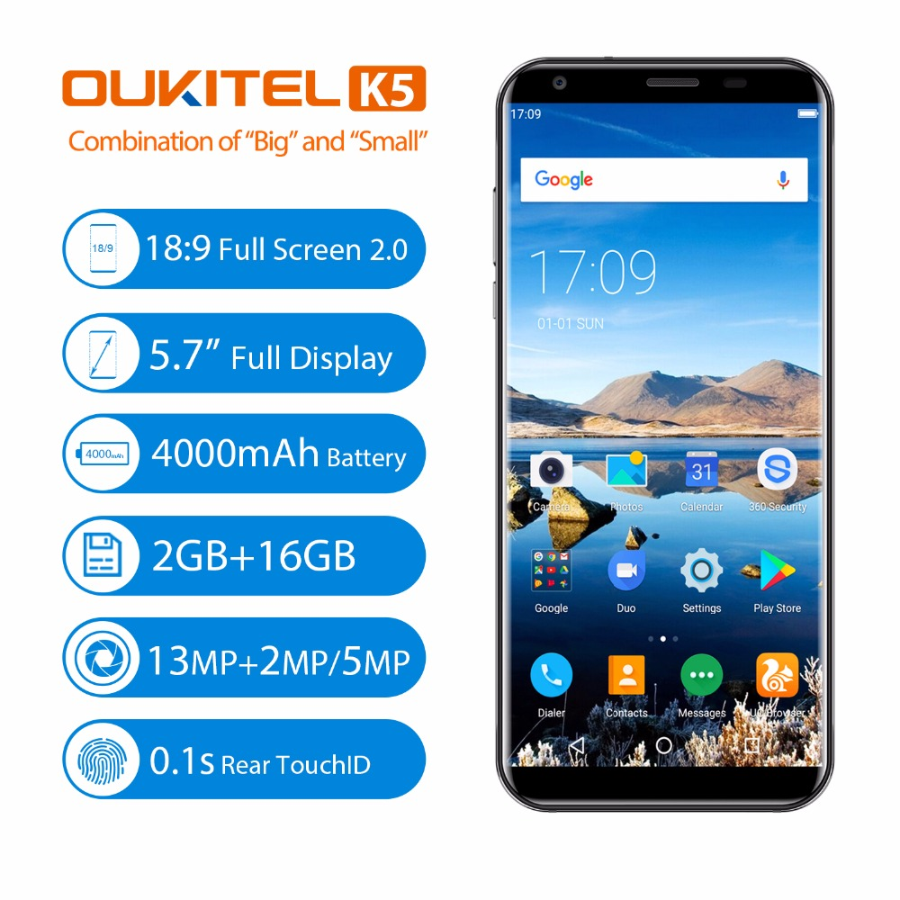 Oukitel K5 18:9 5.7'' Android 7.0 2GB RAM 16GB ROM MTK6737T Quad Core 8MP 3 Cameras 4000mAh Fingerprint Mobile Phone Pre-sale