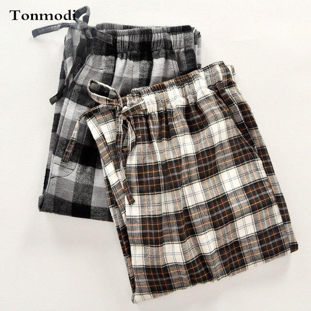 Сна Топы Мужчины 100% хлопок бархат сна брюки Плед весной и осенью отдыха свободные пижамы брюки