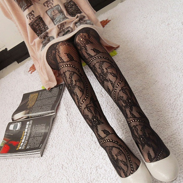 Fashion Womens Lady Girls Black Sexy Fishnet Pattern Jacquard Stockings Pantyhose Tights Styles Woman 1pcs dww05