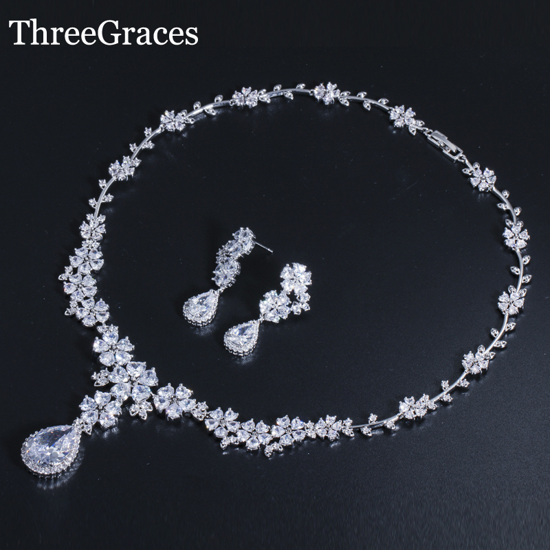 ThreeGraces Luxury Bridal Wedding Big Flower Drop Earrings And Necklace AAA+ Cubic Zirconia Jewelry Set For Brides JS033 threegraces luxury dubai gold color jewelry set big water drop cz stone wedding necklace earrings bracelets for brides js057