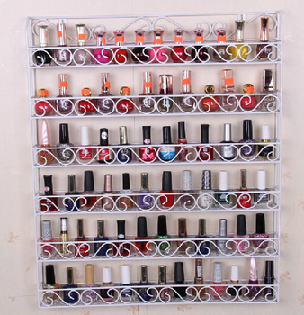 The new nail polish rack wrought iron wall hanging wall display shelf cosmetic nail shop Showcase