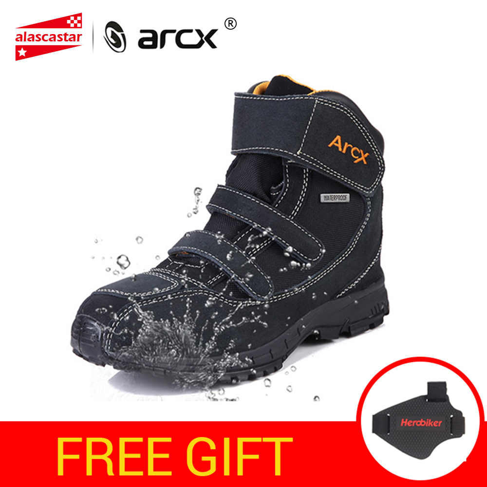ARCX Waterproof Motorcycle Boots Motorcycle Riding Boots Genuine Cow Suede Leather Riding Shoes Street Moto Motorbike Shoes bead