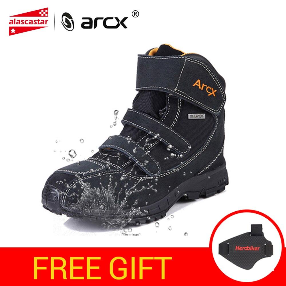 ARCX bottes de Moto imperméables hommes chaussures de Moto véritable vache daim cuir équitation chaussures de motard Moto Botas bottes de Moto