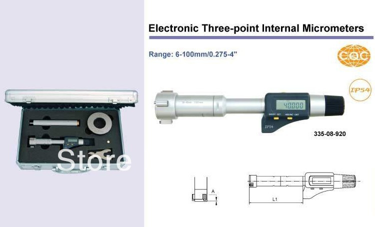 Electronic Three-point Internal Micrometers 8-10mm.0.35-0.425inch.335-02-920 Inside micrometer inside micrometers 50 600mm 2 24inch 301 05 050 the stem diameter micrometer
