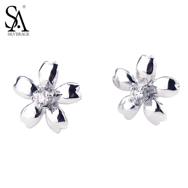 SILVERAGE 925 Sterling Silver White Gold Heart Stud Earrings For Women With Cubic Zirconia Gift For Mom/Daughter bO5ZKLy0L