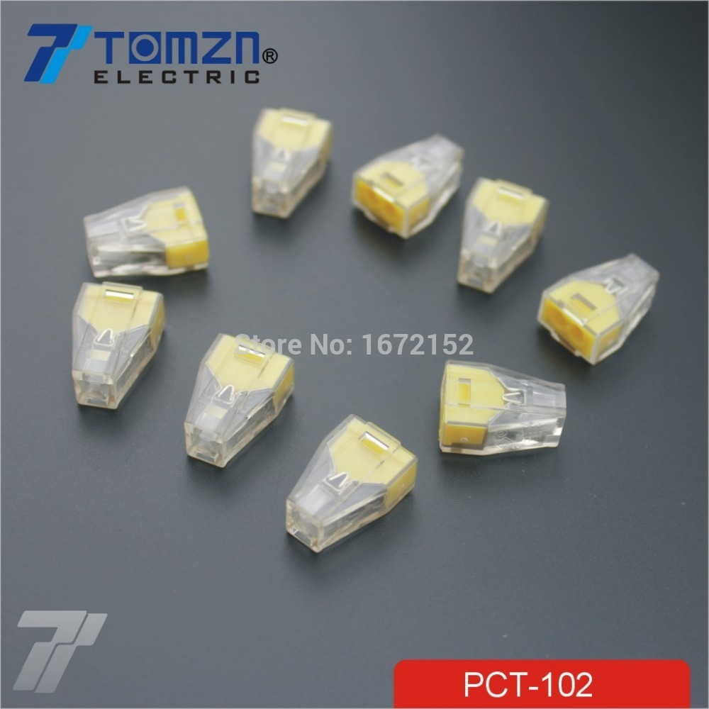 20 Pcs Pct 102 Push Wire Wiring Connector For Junction Box 2 Pin Conductor Terminal Block In Connectors From Lights Lighting On Alibaba