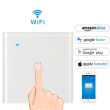 EU/UK standard 1gang1way Smart WIFI touch light switch,  high power 2200W AC90-240V and Alexa Google use Eweilink applicatio