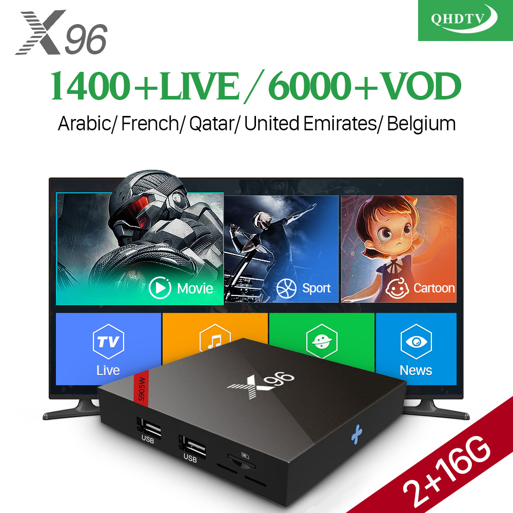 IPTV French Box Android 7.1 S905W X96W Set Top Box With QHDTV Subscription 1 Year IPTV France Arabic Belgium Dutch Tunisia