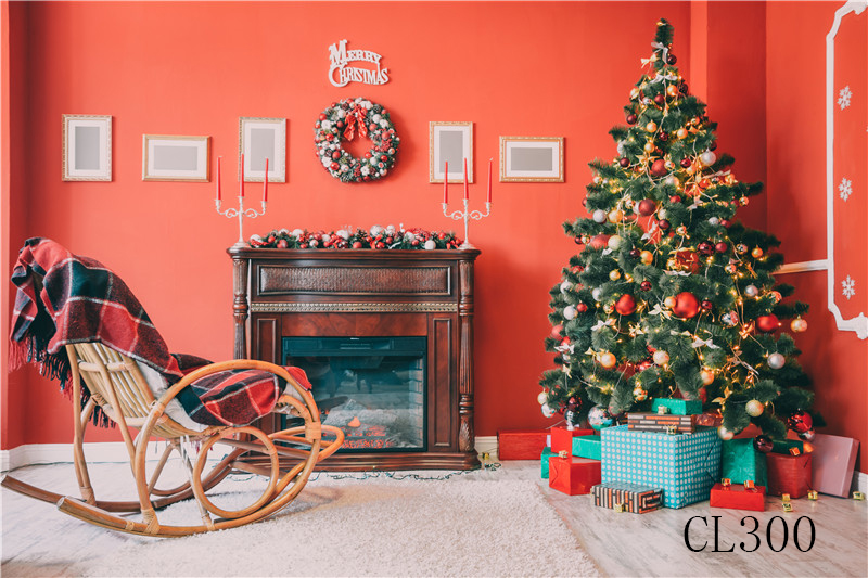 Polyester Christmas Tree rocker Chair Backdrop Background Photography Studio Prop Photographic Photo Seamless Washable No Crease