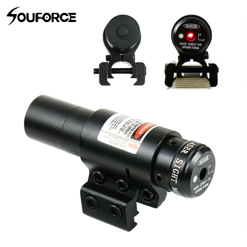 Tactical Airsoft Red Dot Laser Sight with Mount for 20mm & 11mm Picatinny Rails for Riflescope Hunting