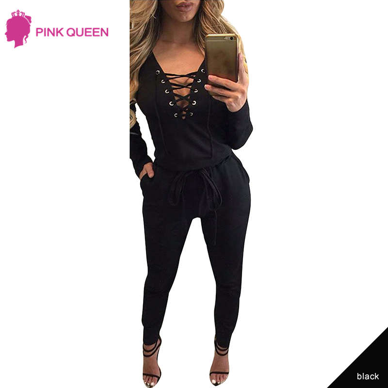 e58bbc4de9 Pink Queen Fashion Nova Woman Mono Mujer Bodysuit Sexy Women Jumpsuits for  Women 2018 Elegant Lace Up Black Combinaison Soiree