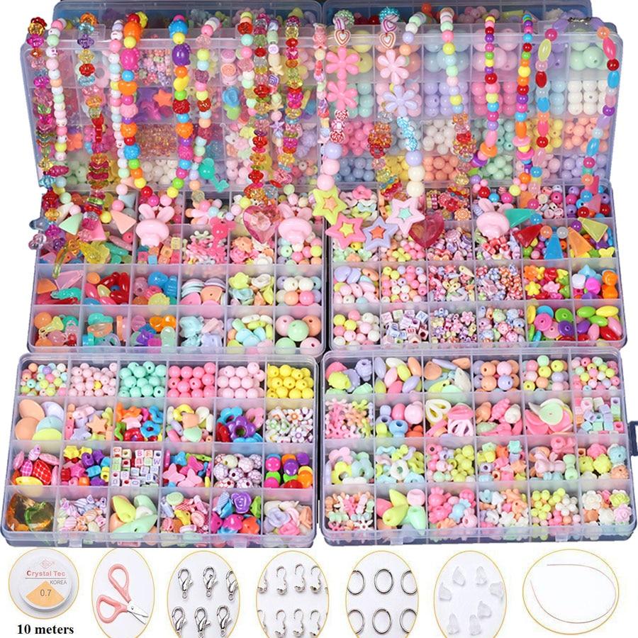 24 Kisi Over 650 Pcs Diy Beads Untuk Anak Mainan Gelang Kalung Pengaris Akrilik Tenun Band Bead Dengan Box Set Gadis Hadiah Di Math Dari Hobi