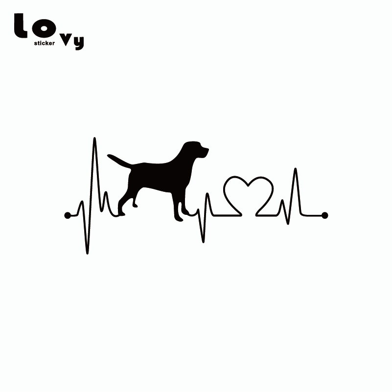 Labrador Retriever Heartbeat Love Car Sticker Creative Dog Silhouette Vinyl Car Decal CA0028 high quality alaskan malamute retriever vinyl window dog decal sticker for car suv body