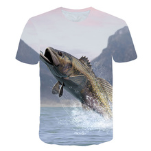 2019 New Hd Digital Leisure 3D Printing Fish T-shirt Men Fishing T-shirt Round Collar Shirt Jacket Interesting Fish T-shirt slim fit round collar poker printing t shirt for men