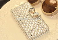 Luxury Bling Crystal Rhinestone White Side Flip PU Leather Case Cover For Sony Xperia T2 Ultra XM50H
