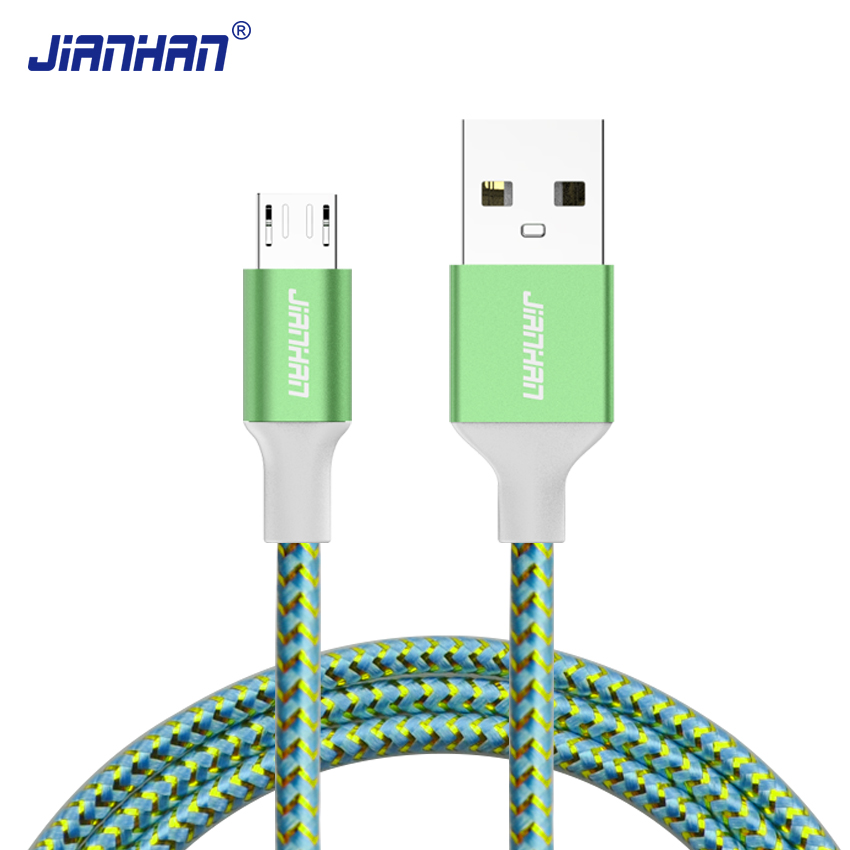 JianHan Micro USB Cable 1m 5V2A Fast Charger USB Data Cable for Huawei Samsung Galaxy S7 Xiaomi Redmi4 HTC OPPO LG Andorid Phone