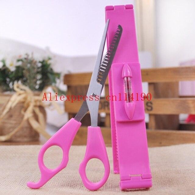 Newarrive Girl Pink Plastic Level Instrument Ruler DIY Hair Tools Bang Cut Kit Scissor+Hair Clip Set Hairstyle Typing Trim Tool  4