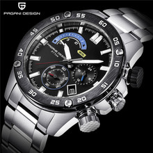цена на 2019 Men's Watches PAGANI DESIGN Luxury Brand Business Stainless Steel Quartz Watch 30M Waterproof Sport Chronograph Relogio Man