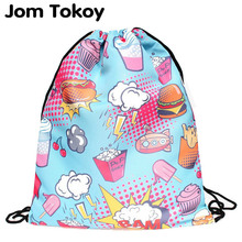 Donut sweets 2017 new drawstring printing backpack women fashion shoulder bag casual schoolbags mochila School girl