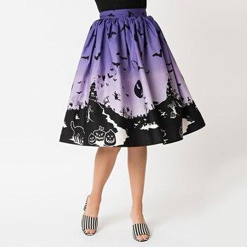 Design Floral Skirt Women High Waist Plus Size Ladies Summer Skirts Skater 50s Vintage Midi Skirt Halloween Skirts Dropship Юбка