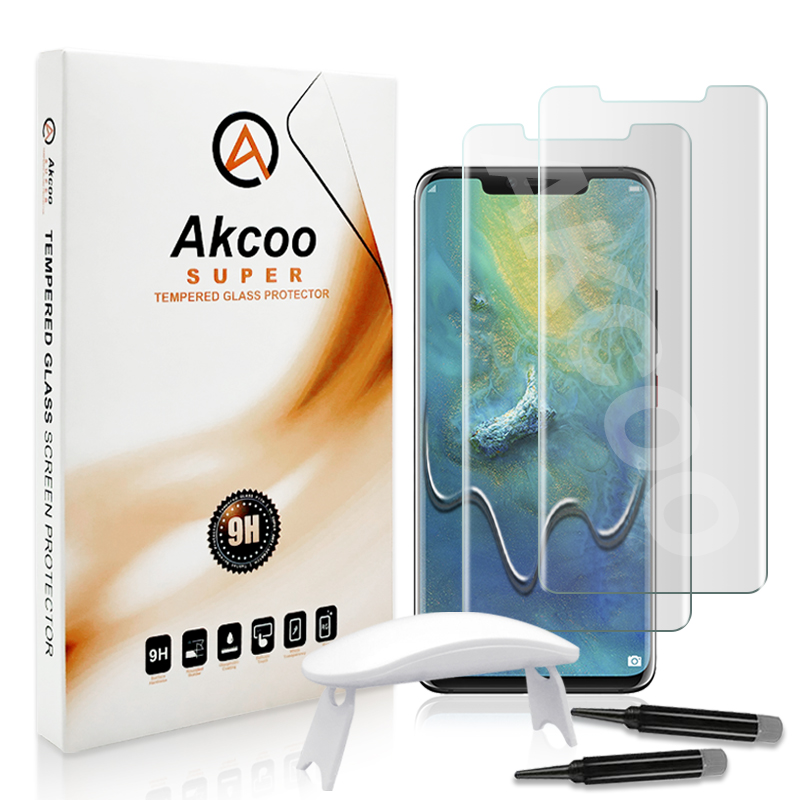 Akcoo UV Tempered Glass For P30 Pro Screen Protector Full Glue Cover Film ForHuawei Mate 20 Pro Clear Glass Screen Protector