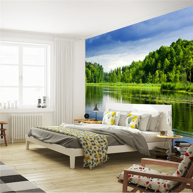 Beautiful lake wall mural natural landscape wallpaper for Waterproof wallpaper for bedrooms