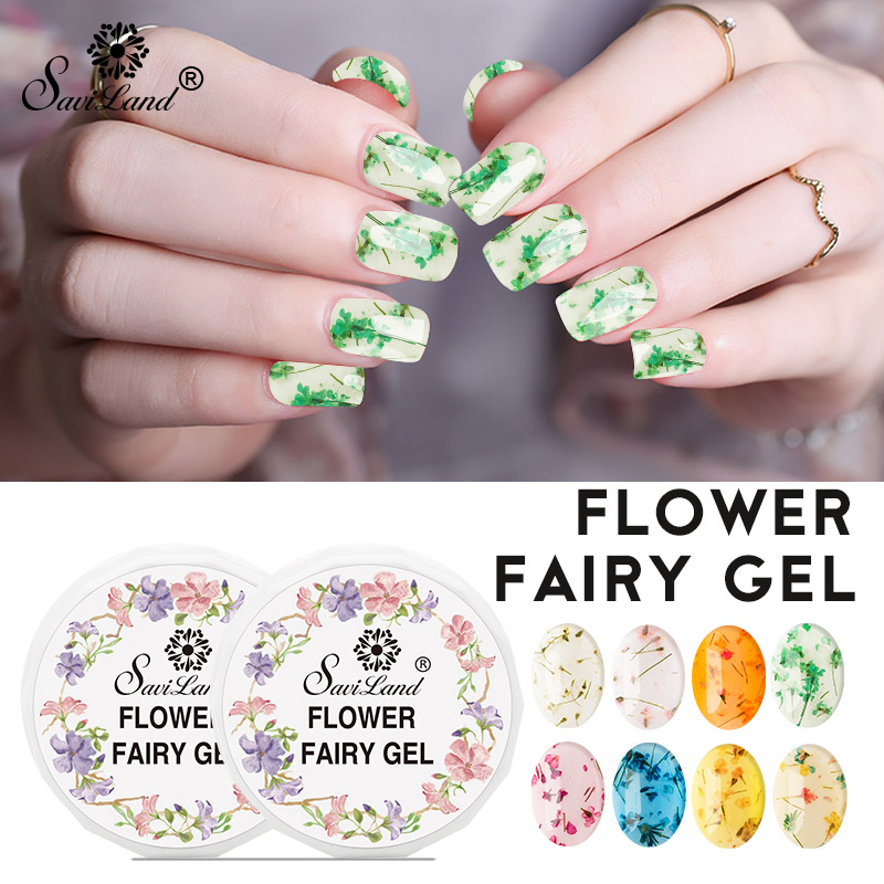 Saviland 12 Colors Natural Dried Flowers Nail Gel Polish Flower Fairies Series Soak Off Uv Led