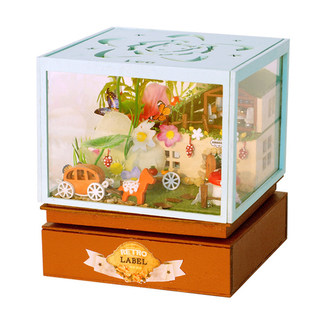 LED 12 Constellation Music Box DIY Wood House Miniature Figurines Creative Forest Building Model Kits birthday gift Toy