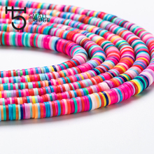 6mm Mixed Color Polymer Clay Beads for Bracelet Making Girls Diy Accessories Perles Loose Slices Fimo Beads Sholesale C801 borosa 10pcs rainbow handmade bracelets polymer clay beads fimo slices plastic thin disc elastic string bracelet jewelry hd0090